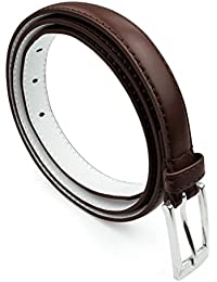 Women Skinny Leather Belt with Silver Polished Square Belt Buckle - Solid Color PU Leather Belts by Belle Donne