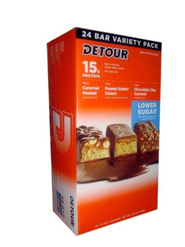 24 Detour Bars, Low Sugar Whey Protein Bars, 1.5oz Bars.