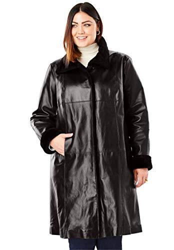 Jessica London Women's Plus Size Fur-Trim Leather Swing Coat - Black, 24 W ()