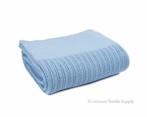 - Linteum Textile (66x90 in, Light Blue) Hospital Thermal Blanket, 100% Cotton, Breathable Open-Cell Weave Design