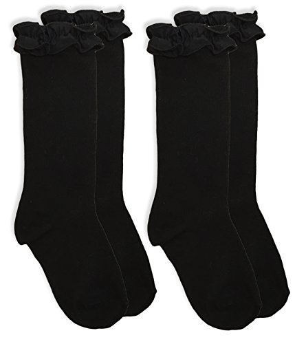 29ef8b2a2 Jefferies Socks Girls School Uniform Ruffle Knee High Socks 2 Pair Pack (S  - USA Shoe ...
