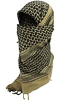 Shemagh Keffieh Cheche US Army - Foulard Palestinien - Coloris Sable & Noir - Airsoft - Paintball - Outdoor
