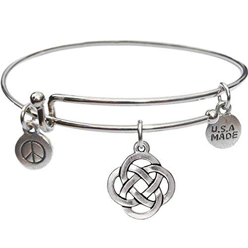 Bangle Bracelet and Open Celtic Knot Charm -