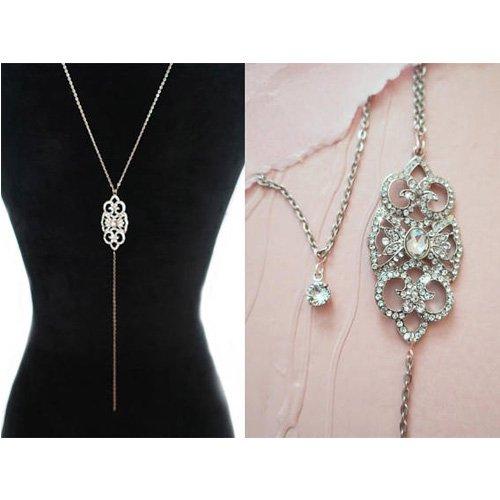 Back chain removable rhinestone glitter bridal jewelry necklace
