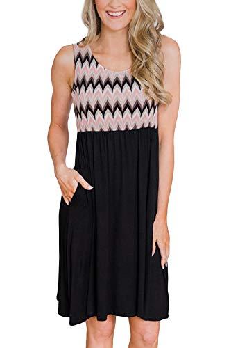 - Womens Beach Swing Color Blocked Sundress Casual Sleeveless Pocket Midi Tank Dress Chevron Printed M