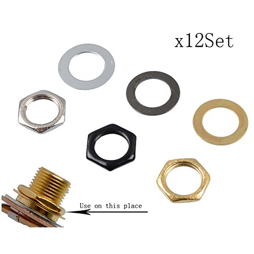 12 Sets 9mm Electric Bass Guitar Nut Washer For Input Output Jack,M9 Bass Guitar Socket Nut Gasket Silver Gold Black For Choose,MusicOne (Each Color 4set)