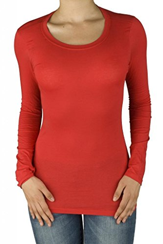 Women Active Basic Round Crew Neck Long Sleeve T Shirt Red Small -