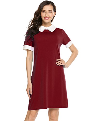 Red School Dress (ANGVNS Women's Formal Perter Pan Collar Short Sleeve Slim Patchwork Casual Business Fit Flare Dress)