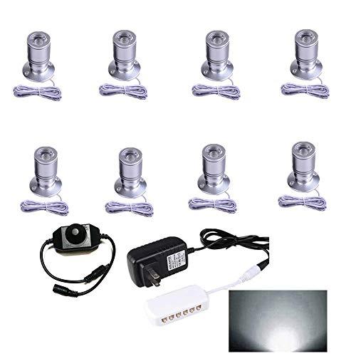 LED1.5W 12VDC Mini Spotlight kit - 100LM Mini spotlightJewelry Showcase Display Lighting,6000k White,for Jewelry Counter, Light Showcase Light, Counter Spotlight Set of 8 (Best Lighting For Jewelry Display)