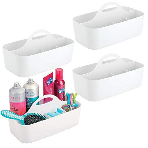 (mDesign Plastic Portable Storage Organizer Caddy Tote - Divided Basket Bin with Handle for Bathroom, Dorm Room - Holds Hand Soap, Body Wash, Shampoo, Conditioner, Lotion - Large - 4 Pack - White)