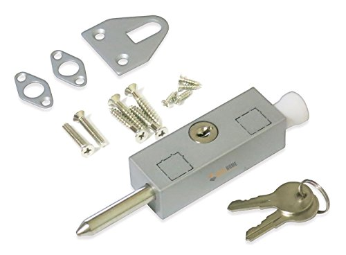 Keyed Patio Sliding Door Lock, with Steel Bolt, Aluminum Finish (For Locks Doors Patio Outside)