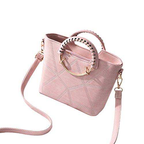 Baymate Mujer Clasico Bolsos Cremallera Bolsa De Hombro de PU Cuero Bolso Del Mensagero Pink