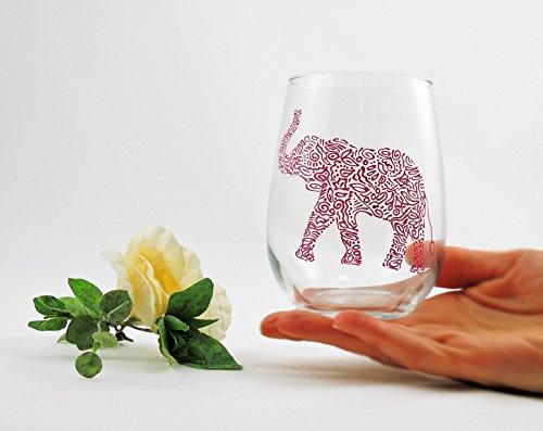 Hand painted elephant wine glass - Painted Elephant