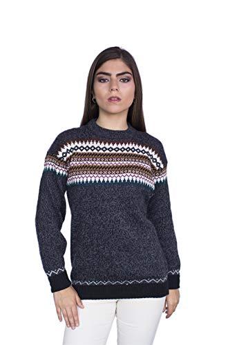 Raymis Peruvian Women´s Hand Knit Alpaca Nazca Crew Neck Sweater (Charcoal, Medium)