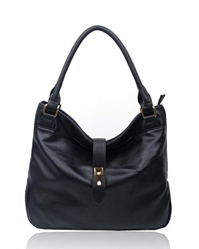 Soft Faux Handbags Black Bags Leather Bag Her LeahWard® CW16001 For Bag Women's Tote Shoulder 0xqtU1wY