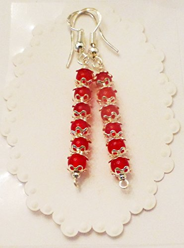 (Ruby Bead Dangle Earrings With Sterling Silver AAA)