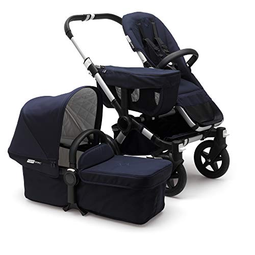 Bugaboo Donkey 2 Mono Baby Stroller, Foldable Stroller, Converts into Twin Side-by-Side Sibling Stroller, from Birth Baby Stroller, Infant Stroller, Multiple Seat Positions, Alu/Classic Dark Navy