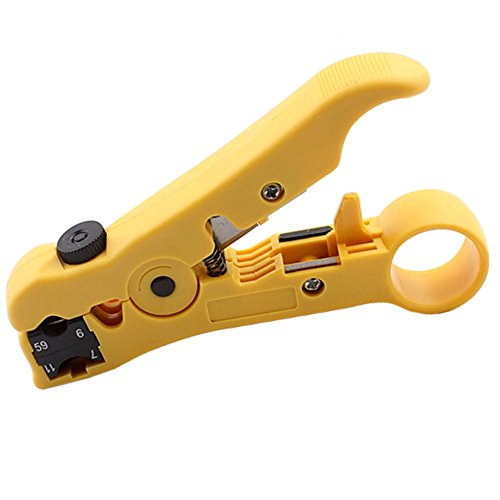 WESTONETEK Universal Cable Stripper Cutter for Flat or Round UTP Cat5 Cat6 Wire Coax Coaxial Stripping Tool ()