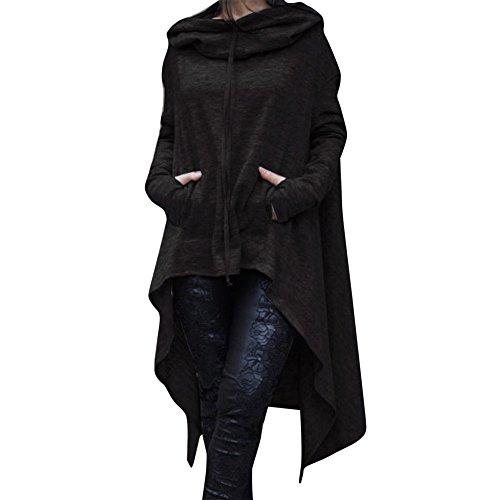 Toimoth Women Casual Irregular Hood Sweatshirt Ladies Hooded Pullover Blouse Tops(BlackA,L)