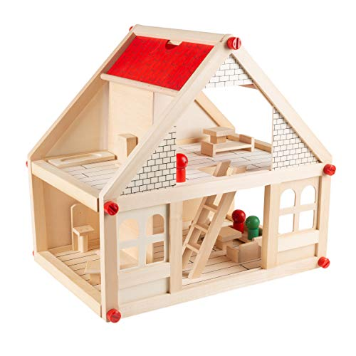 Hey! Play! Dollhouse for Kids - Classic Pretend Play 2 Story Wood Playset with Furniture Accessories & Dolls for Toddlers, Boys & Girls