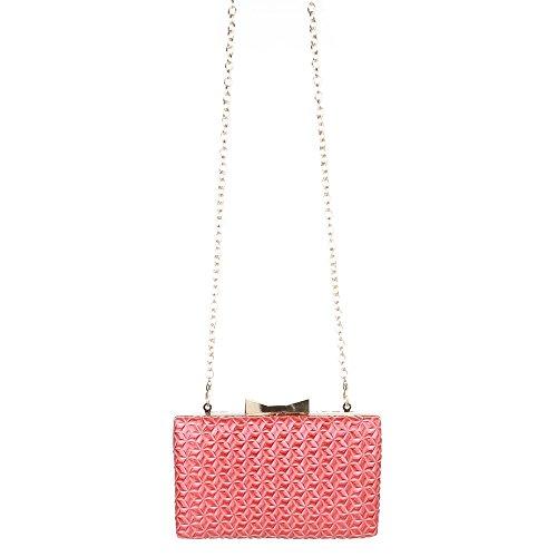 Damen Tasche, Abendtasche, Kleine Clutch, Kunstleder, Coral Rot, TA-1560-138E