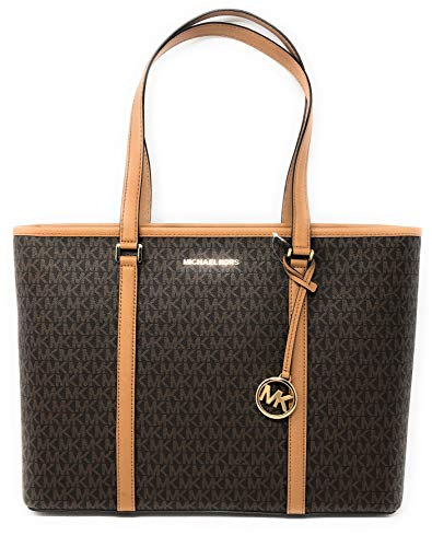 Michael Kors Womens Sady Multifunction Top Zip Tote Bag Brown ()