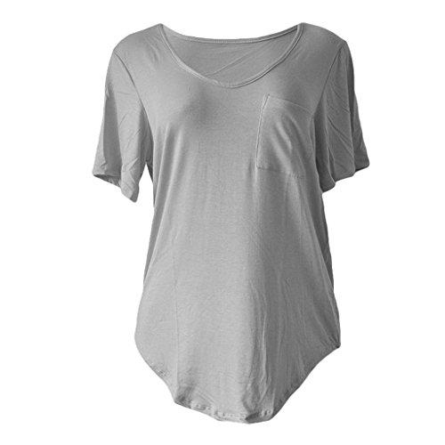Sumtory Women Plus Size Short Sleeve V Neck Loose Top Shirt – Large, Grey