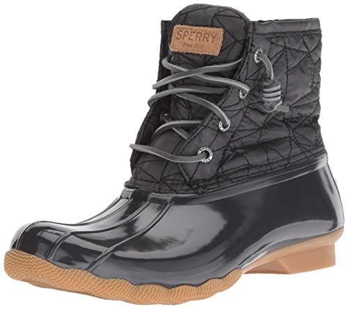SPERRY Women's Saltwater Nylon Quilt Rain Boot, Dark Grey, 8 M US