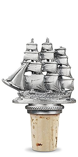 Epic Products Sailing Ship Pewter Bottle Stopper, 2.75-Inch
