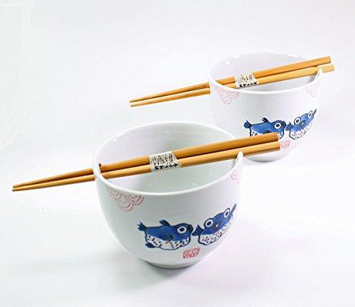 ラーメンボウル [Set of 2] Japanese Porcelain Ceramic Bowls w Chopsticks Ramen Soup Noodle Porridge Menudo Ramen Udon Pasta Cereal Ice cream Pho Rice Instant Noodle ~ We Pay Your Sales Tax (Puffer Fish) by We pay your sales tax (Image #6)