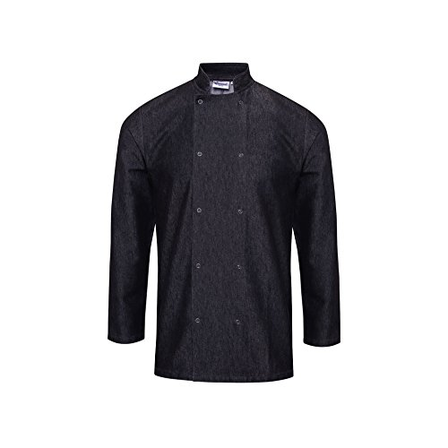 - Premier Unisex Denim Chefs Jacket (L) (Black Denim)