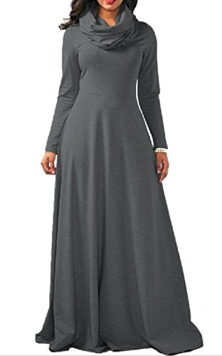 Sleeve Collar Heap Comfy Dark Dresse Maxi Sweatshirt Grey Women's Long BvqB1wRP