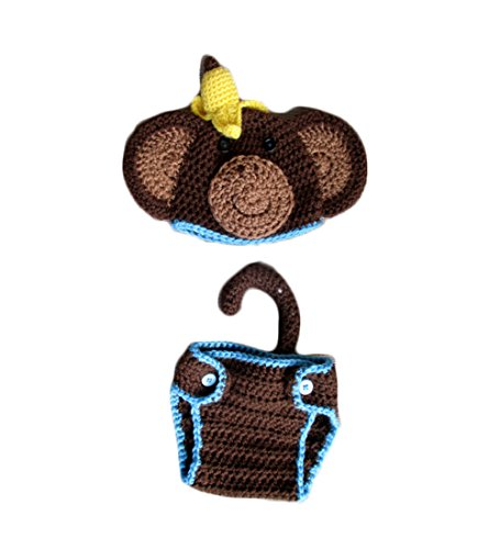 [8haohuo Baby Newborn Photography Props Handmade Crochet Knitted Unisex Baby Outfit (Monkey Blue)] (Monkey Outfits For Toddlers)