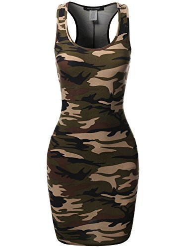 Floral or Camouflage Printed Sexy Body-Con Racer-Back Dress Khakicamo S