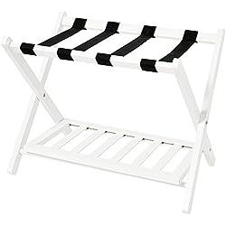 WELLAND WHM100-200 Wood Folding Luggage Rack with Shelf, White,