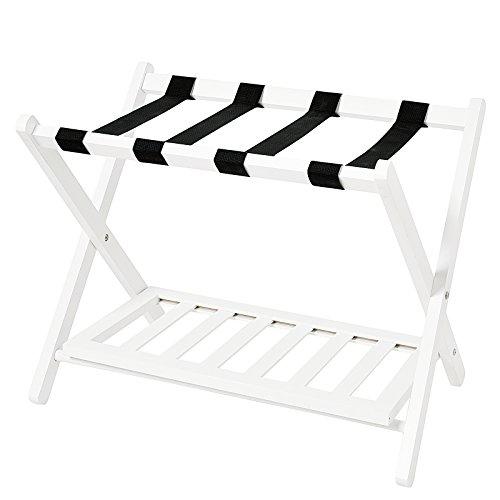 ood Folding Luggage Rack with Shelf, White ()