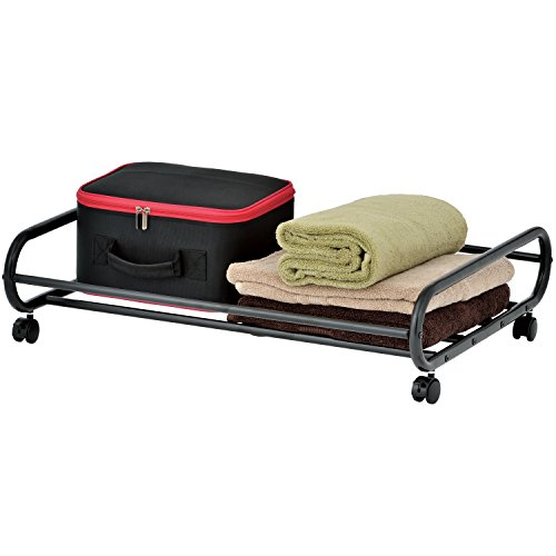 Underbed Cart - MyGift 24-Inch Rolling Metal Under-Bed Storage Cart with Rotating Wheels