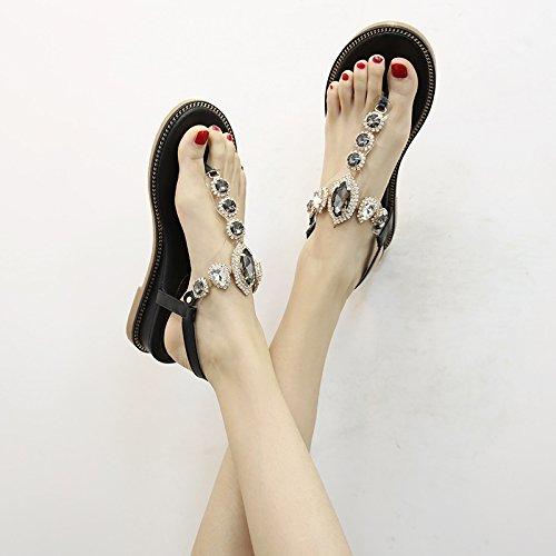sandali black estivi con con sandali strass donna sandali YMFIE Pendenza antiscivolo con p4zqxaw