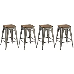 BTEXPERT 24-inch Industrial Metal Vintage Antique Rustic Style Clear Brush Distressed Counter Height Bar Stool Modern- Handmade Wood top seat (Set of 4 Barstool)