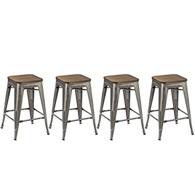 BTEXPERT 24-inch Industrial Metal Vintage Antique Rustic Style Clear Brush Distressed Counter Bar Stool Modern- Handmade Wood top seat (Set of 4 barstool)