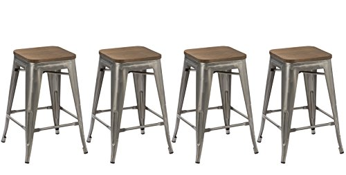 BTEXPERT 24-inch Industrial Metal Vintage Antique Rustic Style Clear Brush Distressed Counter Height Bar Stool Modern- Handmade Wood top seat (Set of 4 (French Square Leg)
