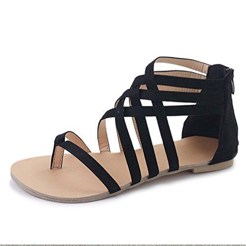 Sandals Summer Shoes Female Flat Sandals Rome Style Cross Tied Sandals Shoes Women 43 Black ()