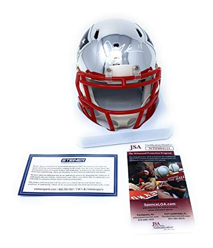 Julian Edelman New England Patriots Signed Autograph Speed CHROME Mini Helmet Steiner JSA Witnessed Certified