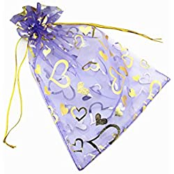 QIANHAILIZZ 100 Pack 7 x 9 Inch Drawstring Flower Heart Bags Organza Jewelry Gift Pouch Candy Pouch Drawstring Wedding Favor Bags (lilac heart)