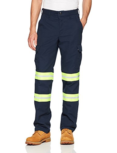 (Red Kap Men's Enhanced Cargo Pant, Navy with Yellow/Green Visibility Trim, 38W x 32L)