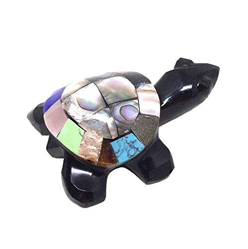 (Nelson Creations, LLC Obsidian Multi Gemstone Turtle Animal Carving Charm Totem Figurine | 2