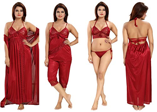 7cb4c2c4867 Romaisa Women s Satin Nightwear Set of 6 Pcs Nighty