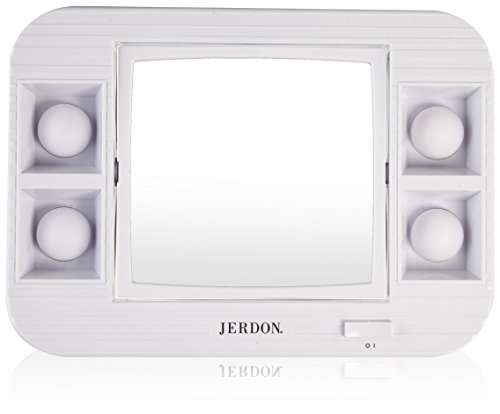 Jerdon J1015 LED Lighted Makeup Mirror with 5x Magnification, White Finish by Jerdon