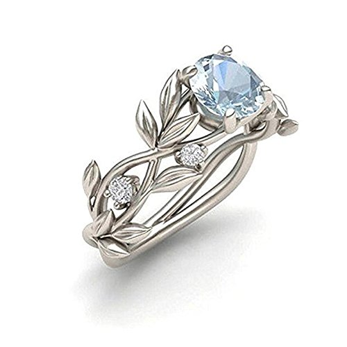 Stainless Steel Sterling Silver Ring - JD Jewls Women Floral Transparent Diamond Flower Vine Leaf Rings Engagement Wedding Rings (7)