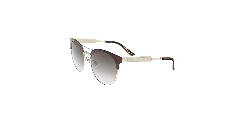 Gucci Damen Sonnenbrille GG0075S 004, Rot (Burgundy/Grey), 56